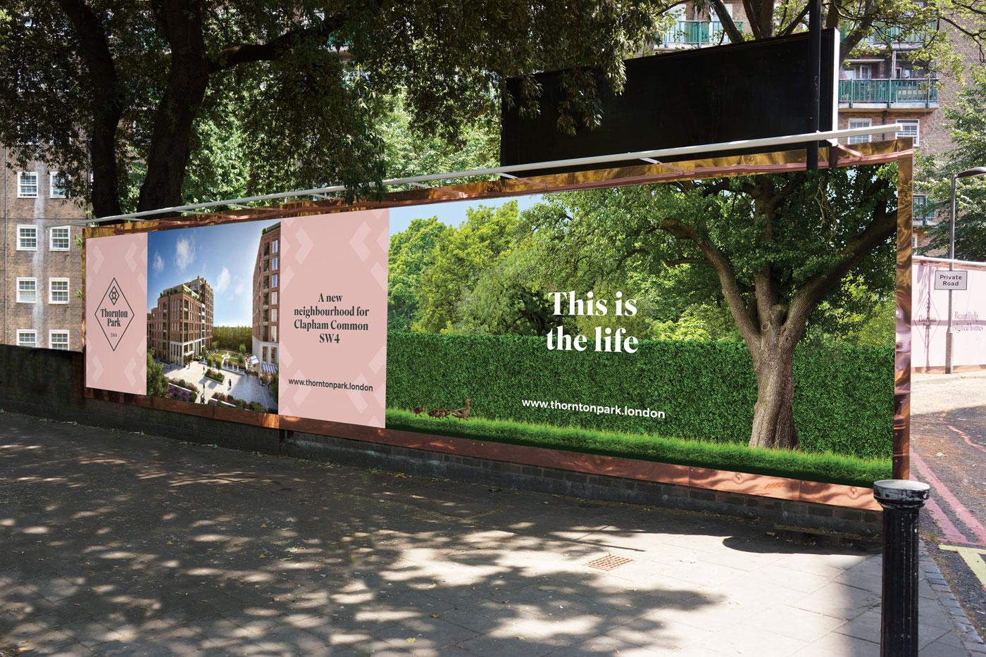 thornton park brand development launch - external hoarding design